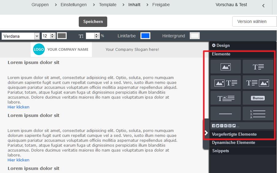 Eigene Elemente im Account hinterlegen – CleverReach Support