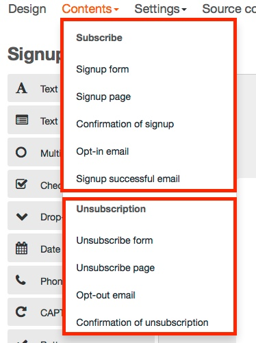 Editing the signup and unsubscription texts – CleverReach Support