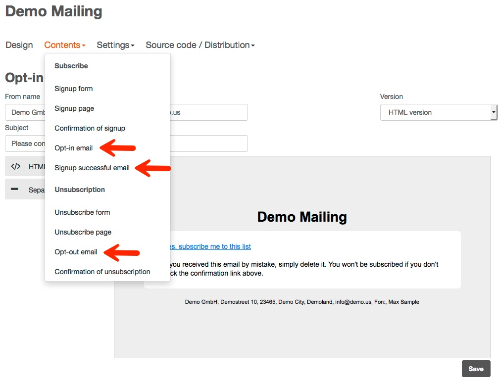 How can I edit the sender address for registration and unsubscribe ...